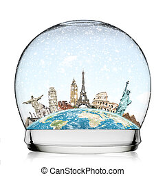 Monuments of the world in a snowball - illustration of...