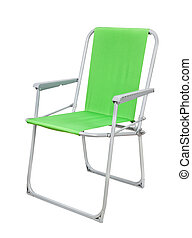 Foldable chair - Green foldable camp chair isolated on white