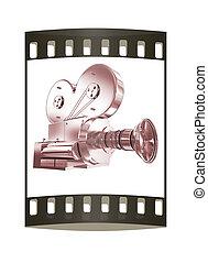 Old camera. 3d render. The film strip