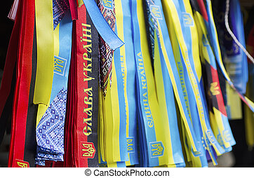 Ukrainian nationalistic symbols - Ribbons with Ukrainian...