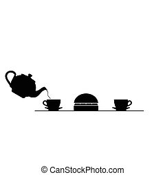 meat and tea black vector