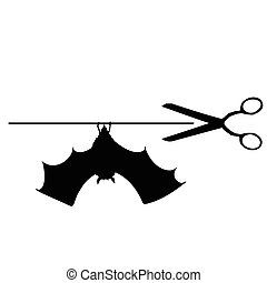 scissors with bat vector silhouette illustration