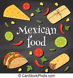 mexican food on a chalkboard - poster on a chalkboard...