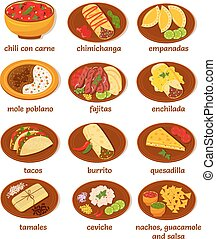 mexican food - big set of vector illustrations of the post...