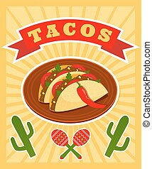 taco poster - bright vector poster with illiustration of...