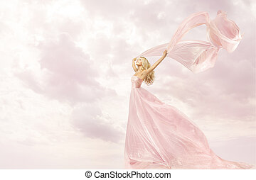 Happy Woman in Pink Long Dress, Girl with Flying Silk Scarf...
