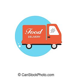 Icon with Flat Graphics Element of Food Delivery Car Vector Illu