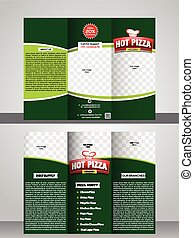 Tri fold pizza store brochure template design vector...