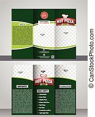 Tri fold pizza store brochure template design vector...