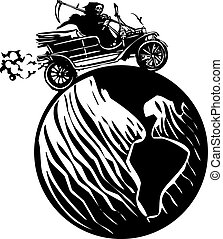 Death driving around the world - Woodcut style expressionist...