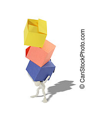Boxes Burden - Plasticine man with three colored boxes on...