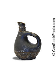 Ancient Jug - Nice ancient ceramic jug isolated on white...