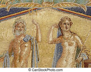 Multi-colored wall mosaics of Venus and Neptune at the...