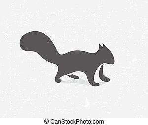 Gray squirrel logo or icon - Vector logo design element with...
