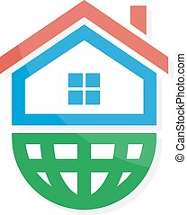 Vector logo combination of a home and earth - Vector logo...