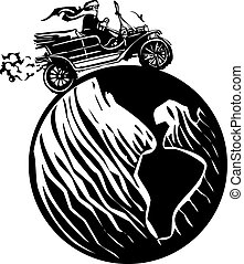 Woman Driving Around the earth