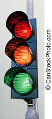Traffic lights with all three colors on