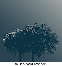 Two Trees in Fog on a Plain Background