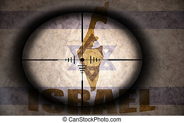 sniper scope aimed at the vintage israeli flag and map