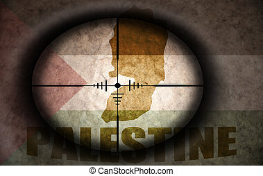 sniper scope aimed at the vintage palestine flag and map