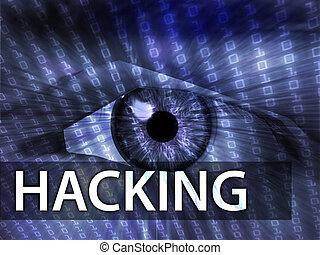 Hacking illustration, eye over digital data information