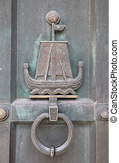 Ancient Door Knocker in Fredrikstad, Norway