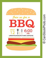 BBQ party invitation card with hamburger and cooking tools,...