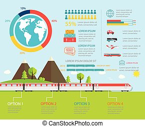Train infographics, vector illustration. Transportation...