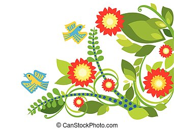 Stylized summer flowers & birds