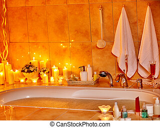 Bathroom interior with bubble bath - Home bathroom interior...