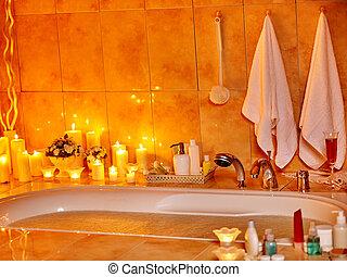 Bathroom interior with bubble bath. - Home bathroom interior...