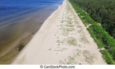 Baltic beach Aerial view back - HD - Baltic beach Aerial...