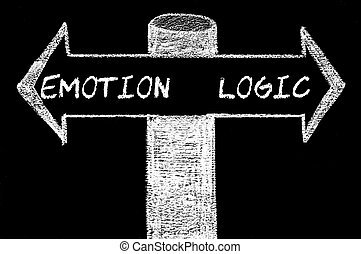 Opposite arrows with Emotion versus Logic. Hand drawing with...