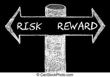 Opposite arrows with Risk versus Reward