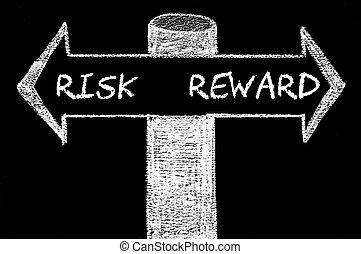 Opposite arrows with Risk versus Reward
