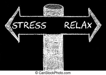 Opposite arrows with Stress versus Relax. Hand drawing with...