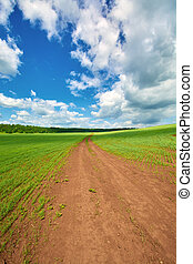 The road into the field against the blue sky with clouds in...