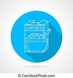 Line vector icon for porridge - Round blue flat vector icon...