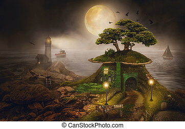 fairy house - (illustration of a fictional situation, in the...