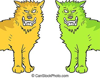 two color wolfs - Creative design of two color wolfs