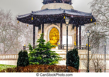 Peace Pagoda at Battersea Park on a Snowy Day, London UK