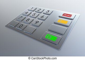 Atm machine keypad. Numbers buttons with additional red,...