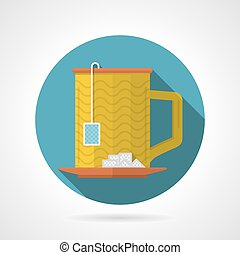 Flat color vector icon for teacup - Round blue flat color...