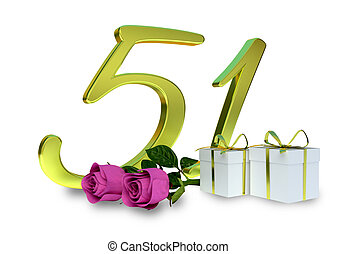 fifty-first birthday concept with pink roses - birthday...