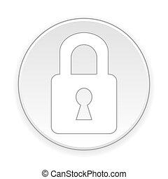 Lock button. - Lock button on white background. Vector...