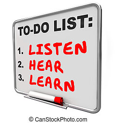Listen Hear Learn To Do List Understanding Knowledge Pay Attention
