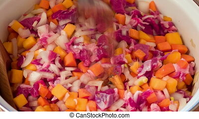chopped vegetables and meat