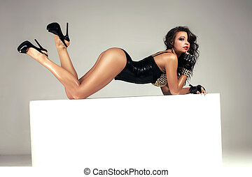 Erotic brunette lady posing - Sexy beautiful brunette lady...