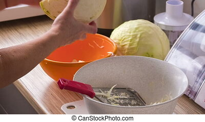the process of chopping cabbage