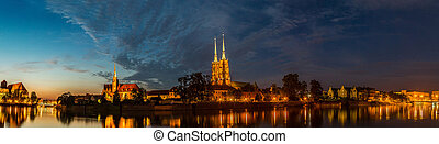 Wroclaw panorama - A cityscape cathedral, river Odra...